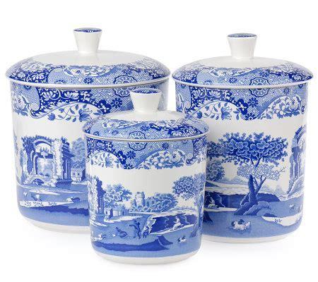 Spode Blue Italian Set of 3 Ceramic Canisters ? QVC.com