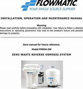 Flowmatic Water System Fmr04 Zw Users Manual Fmro4
