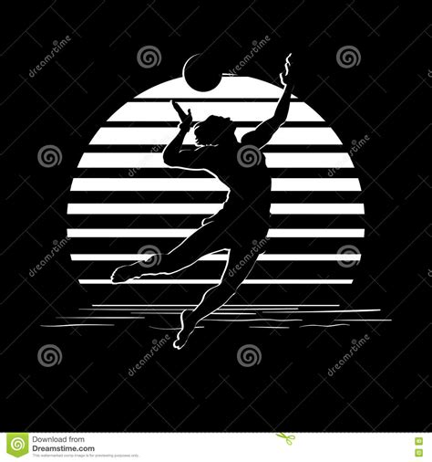 black and white stripes logo with volleyball player silhouette stock vector illustration of