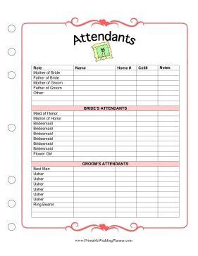 free printable wedding planner attendants