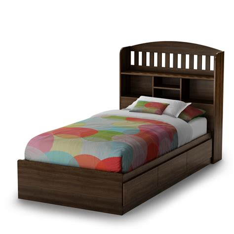 Twin Bed With Storage And Bookcase Headboard Native Home