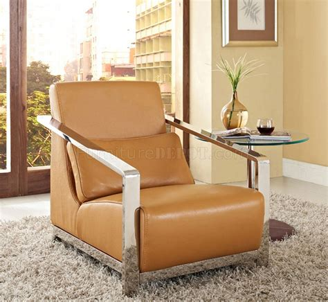 erika chair in camel leather w optional ottoman by whiteline