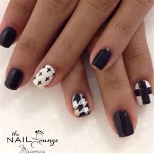 Black white gold stud matte gel nail art nails