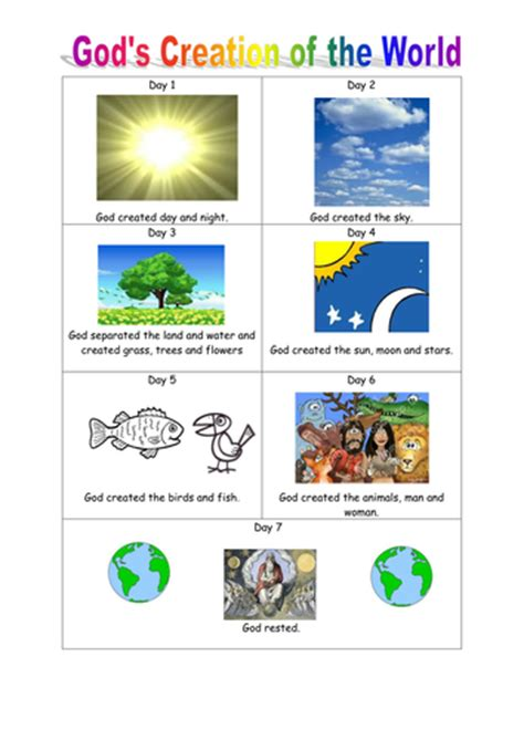 gods  day creation blank worksheet portrait teaching