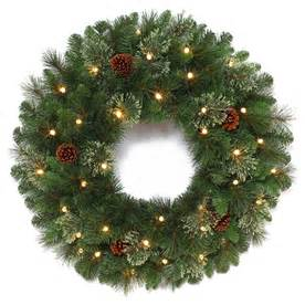 shop holiday living 30 in pre lit leland indoor outdoor artificial christmas wreath with clear