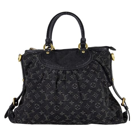 louis vuitton black monogram denim neo cabby gm handbag