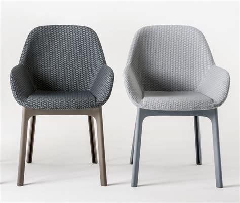 kartell bureau fauteuil rembourré clap tissu pieds plastique graphite