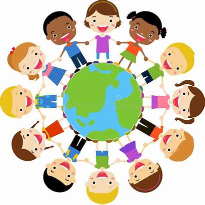 Around Holding Hands Globe Children Happy Earth