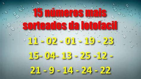15 números mais sorteados lotofacil - YouTube