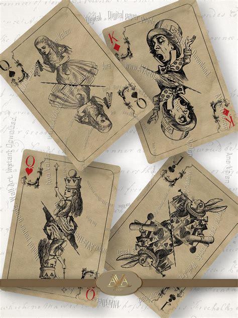 alice  wonderland playing cards printable etsy