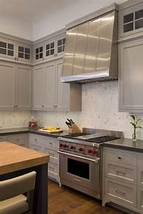 Oval Marble Backsplash - Transitional - Kitchen - Artistic