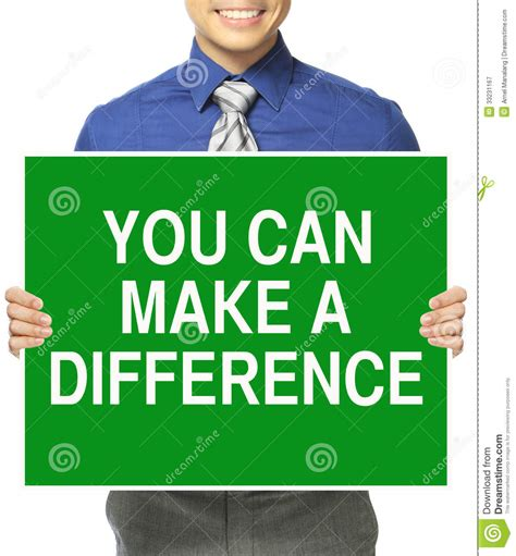 You Can Make A Difference Stock Image Image Of Green
