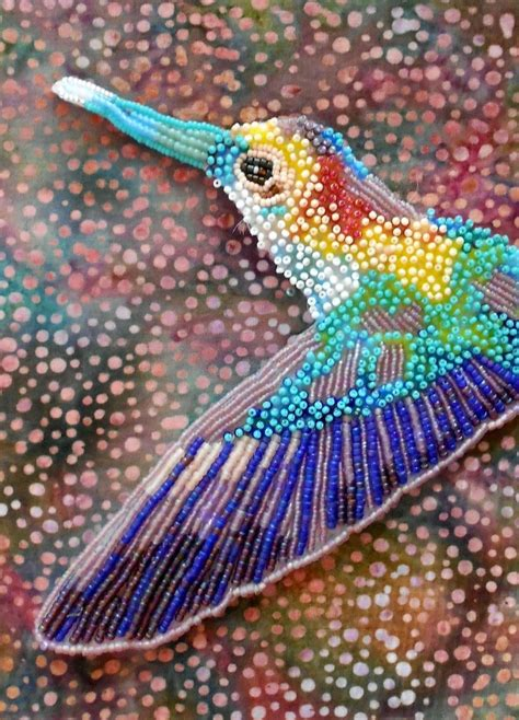hand  seed bead embroidered hummingbird  contemporary seed bead embroidery  eleanor
