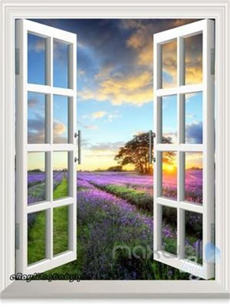 lavender  sunset tree  window view removable wall