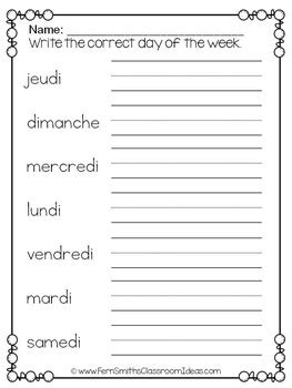 french days   week pocket chart cards  worksheets