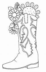 Cowgirl Boots Drawing Coloring Pages Fancy Hat Boot Getdrawings sketch template