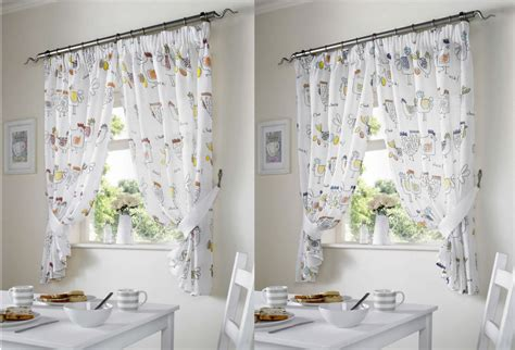 Country Style Drapes - chickens rooster country style kitchen curtain set window