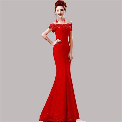 dress fashion merah murah elegan manik manik merah renda putri duyung