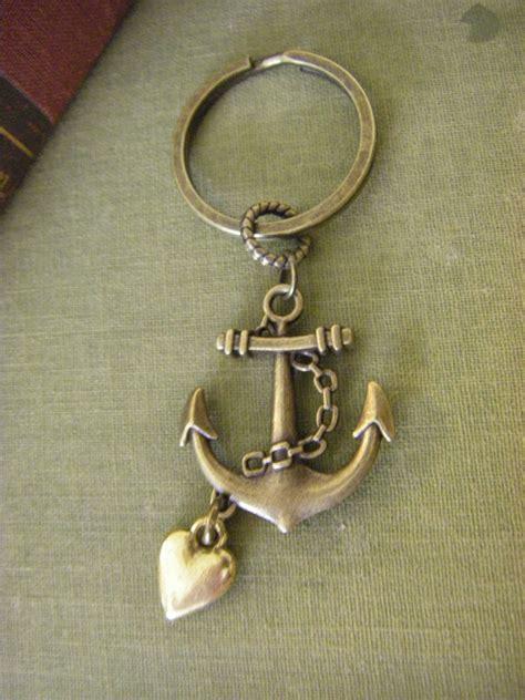 antique brass anchor keychain