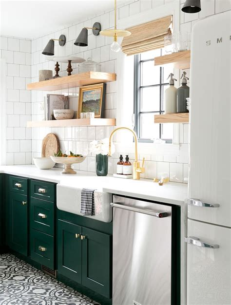 green and white kitchen cabinets bored of white kitchens discover the cabinet color 368 | 18 greenkitchens Modern Vintage Kitchen with cabinets in Benjamin Moores Forest Green open shelving and cement tile