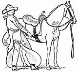 Coloring Saddle Horse Cowgirl Putting Drawings 560px 33kb sketch template