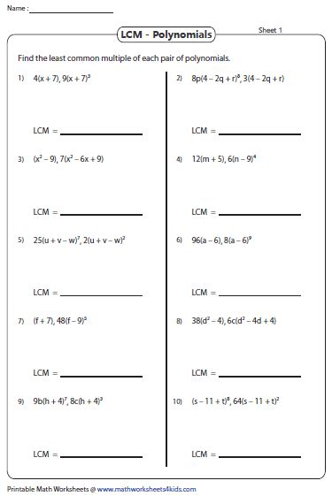 least common multiple worksheets