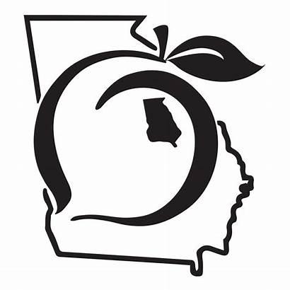Peach Georgia State Decal Pride Sticker Clip