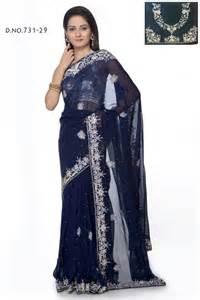 silver studs blue color saree