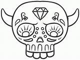 Skull Sugar Template Simple Outline Coloring Sketch Male sketch template
