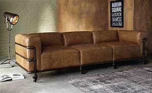 Canapé Vintage Cuir : canap vintage 4 places fabric en cuir havane canap maisons du monde ~ Teatrodelosmanantiales.com Idées de Décoration