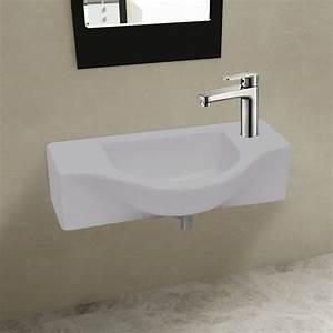 acheter vasque a trou pour robinet ceramique blanc pour With robinet pour vasque salle de bain