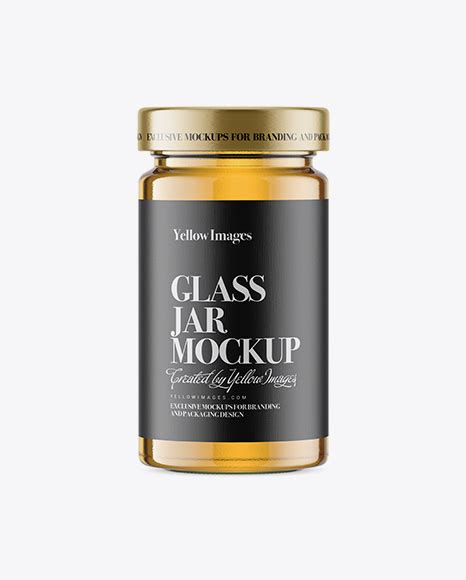 Universal cosmetic glass jar mockup designed in high resolution. Download Psd Mockup Acacia Clear Dessert Food Glass Honey ...