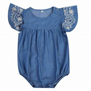 Toddler Kids Baby Girls Infant Clothes Bodysuits Denim Jumpsuit Outfit Cute Baby Girls Short ...