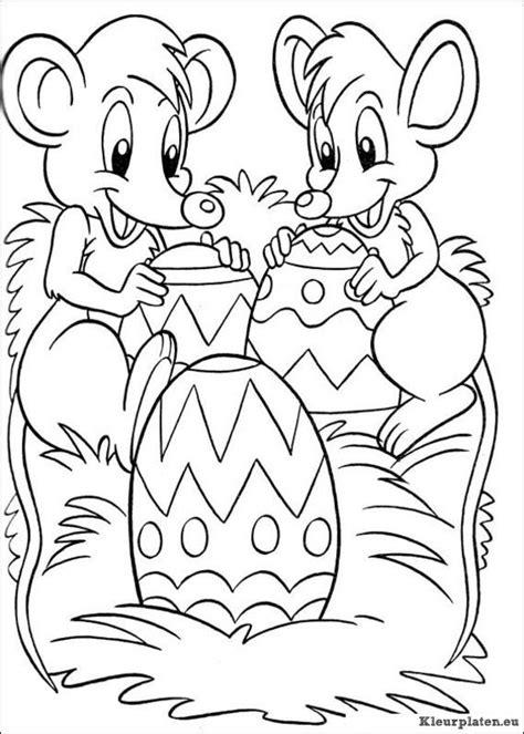 Paasmandje Kleurplaat by De Muisjes Vieren Pasen Pasen Kleurplaten