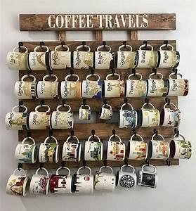 Amazon, Com, Rustic, Wood, Coffee, Cup, Rack, 40, Or, 48, Mug, Hooks, You, Are, Here, Mug, Collection, Display