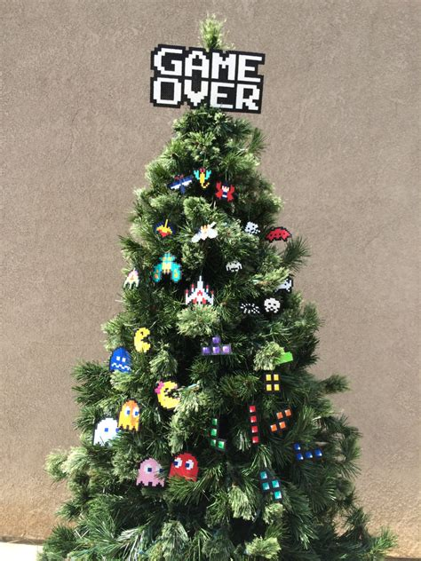 classic video game perler sprites game over tree topper and
