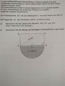 Seitenlänge Berechnen : geometrie geometrische berechnungen halbkreisf rmige wasserfl che und gartenanlage mathelounge ~ Themetempest.com Abrechnung
