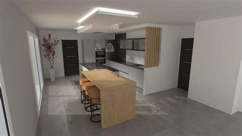 Cuisine design gris clair et bois avec grand u00eelot et ...