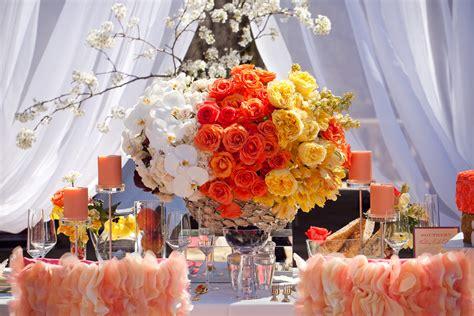 orange yellow white wedding centerpiece onewed
