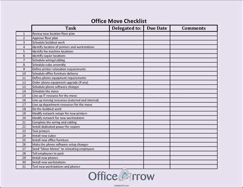 office move checklist template excel template update