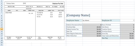employee pay stub excel template exceltemple