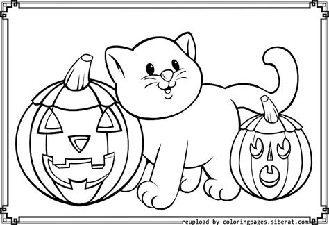 Halloween Pumpkin And Cat Coloring Pages ? Festival