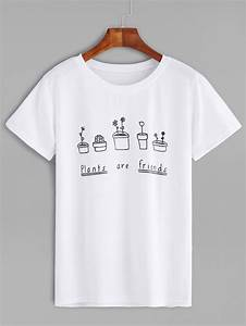 white plants and letters print t shirtfor women romwe With shirts with letters on them