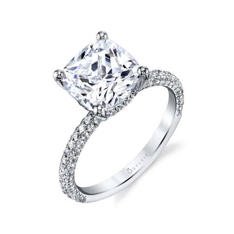 Cushion Cut Solitaire Engagement Ring With Diamonds  S1633. Large Diamond Rings. Turtle Pendant. Kay Jewelers Diamond. Rolo Chains. Faith Pendant. Small Eternity Band. Silver Open Bangle. Small Pendant