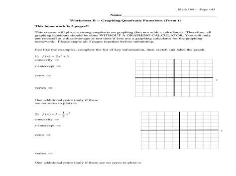 Graphing Quadratic Functions In Vertex Form Worksheet  Free Printable Worksheets