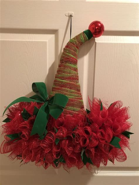 how to make a green christmas hat santa hat wreath on top and green mesh mesh and green ribbon green bow and