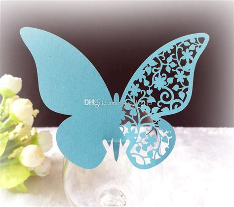 /Bag DIY Butterfly Laser Cut Paper PlaceCard Wine