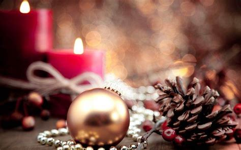 New Year, Christmas Ornaments, Cones, Candles Wallpapers