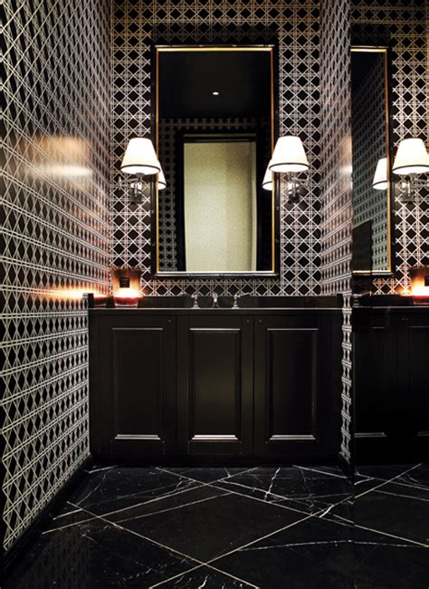 black marble floors  intense geometric walls