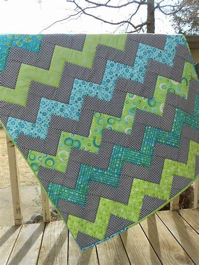 Quilt Zig Fabric Zag Lime Bright Aqua